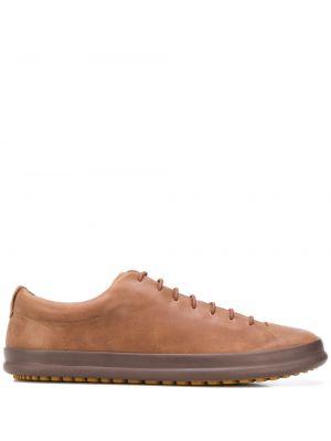 Коричневые кожаные спортивные кроссовки на шнуровке Camper