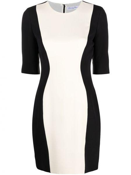 Czarny wyposażone z rękawami sukienka okrągły Christian Dior