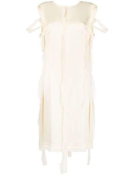 Шелковое платье миди - бежевое Maison Margiela