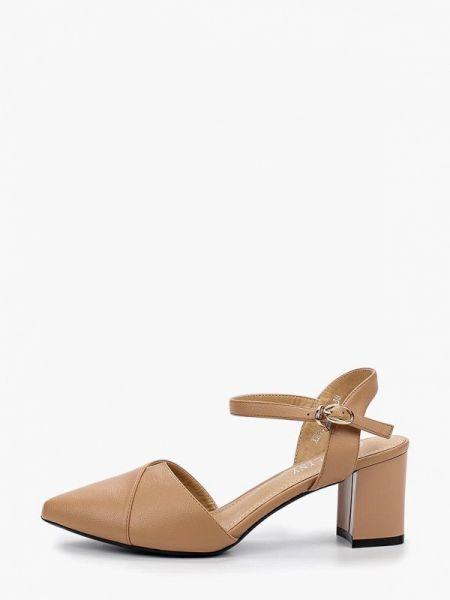 Бежевые кожаные туфли из искусственной кожи Chezoliny