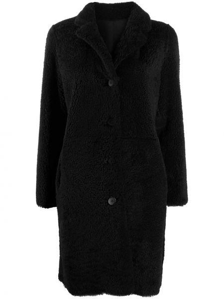 Приталенное черное кожаное пальто классическое S.w.o.r.d 6.6.44