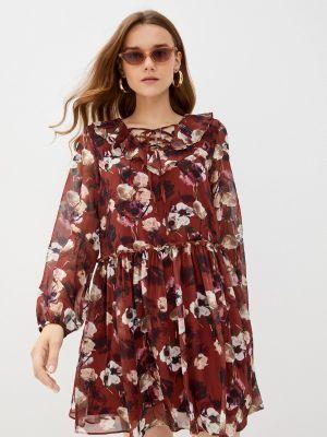 Коричневое платье а-силуэта Zibi London