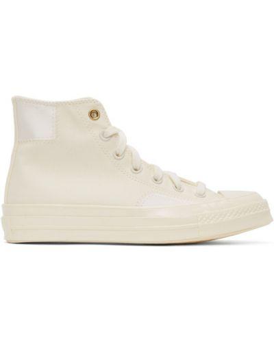 Парусиновые коричневые высокие кроссовки на каблуке сетчатые Converse