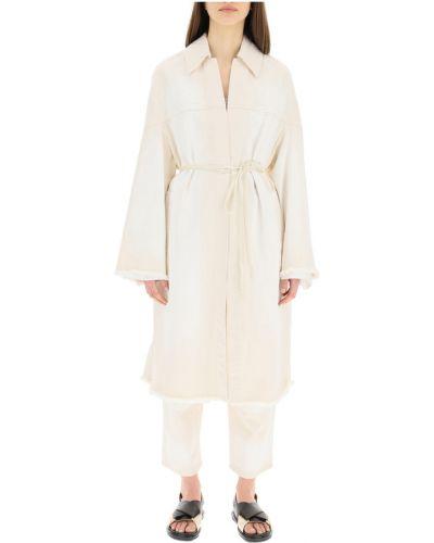 Biały długi płaszcz w paski z długimi rękawami Marni
