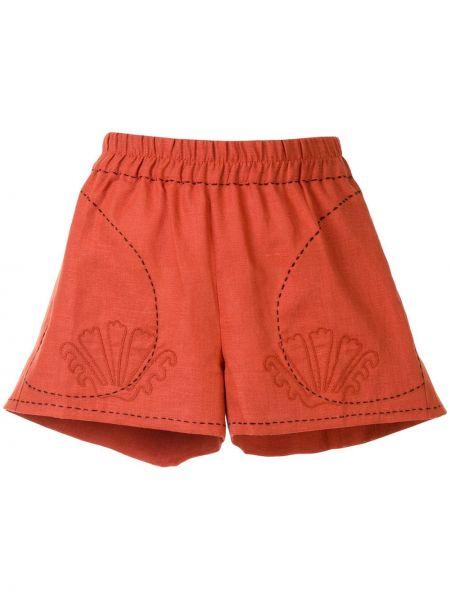 Красные короткие шорты с карманами из верблюжьей шерсти Vita Kin