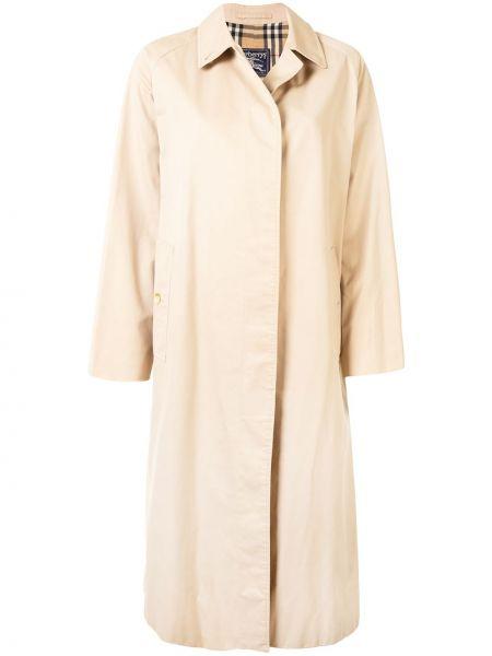 С рукавами коричневое однобортное пальто с воротником Burberry Pre-owned