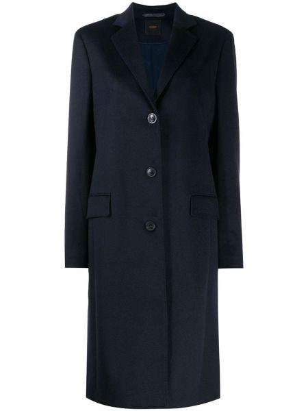 Синее кашемировое пальто с капюшоном Agnona