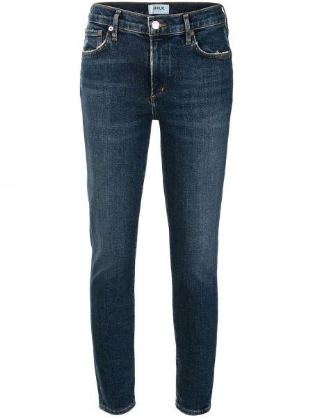 Niebieski bawełna zawężony jeansy na wysokości z kieszeniami Agolde