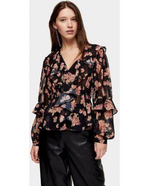 Блузка с рюшами черная Topshop