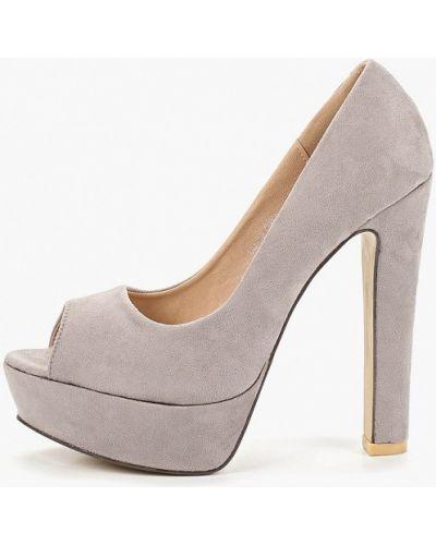 Туфли на каблуке серые с открытым носком Ws Shoes