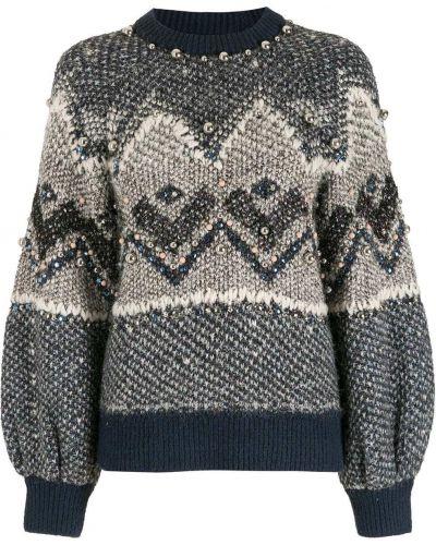 Синяя свитер из вискозы с вырезом НК