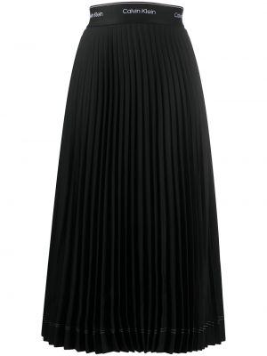 Плиссированная черная юбка с поясом Calvin Klein