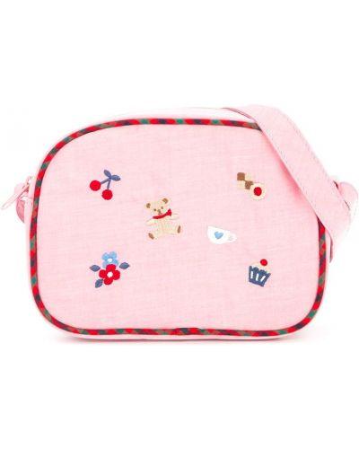 Нейлоновая розовая сумка на плечо с вышивкой на молнии Familiar