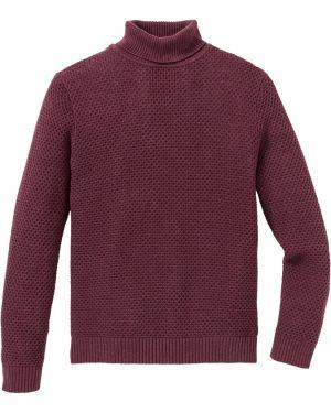Пуловер с воротником красный Bonprix
