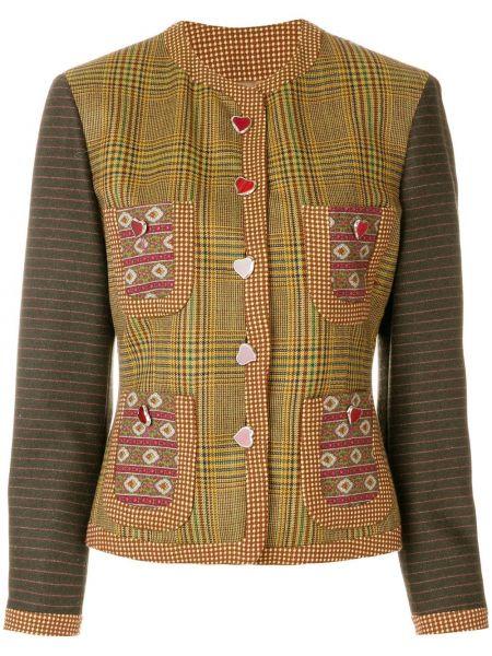Пиджак с карманами винтажный с воротником на пуговицах Moschino Pre-owned