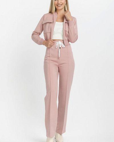 Костюмный розовый брючный костюм Clever Woman Studio