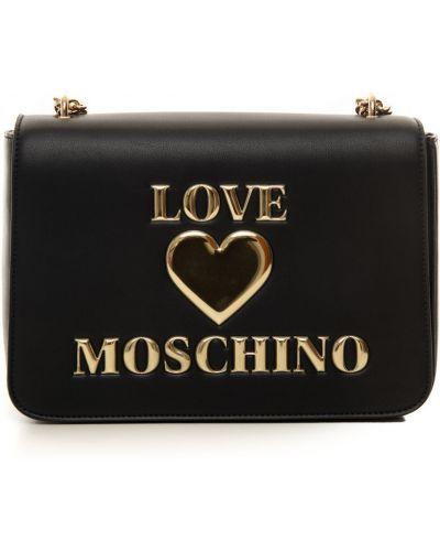 Czarna złota kopertówka z printem Love Moschino