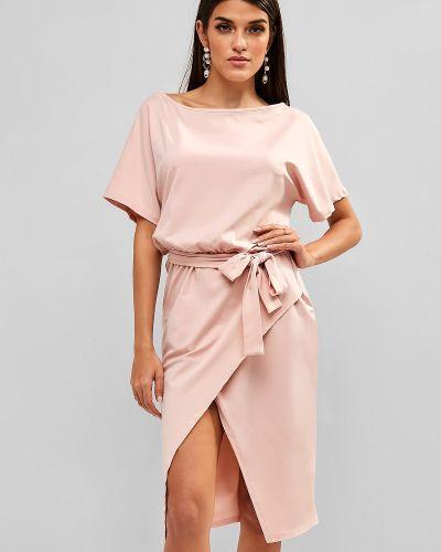 Платье с поясом розовое светло-розовый Zaful