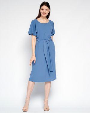 Свободное расклешенное летнее платье из крепа с вырезом Fiato