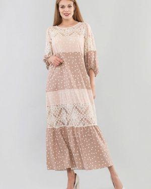 Повседневное платье бежевое весеннее Maxa