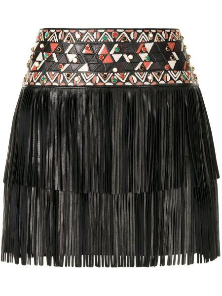 Skórzany czarny spódnica mini frędzlami Valentino Pre-owned