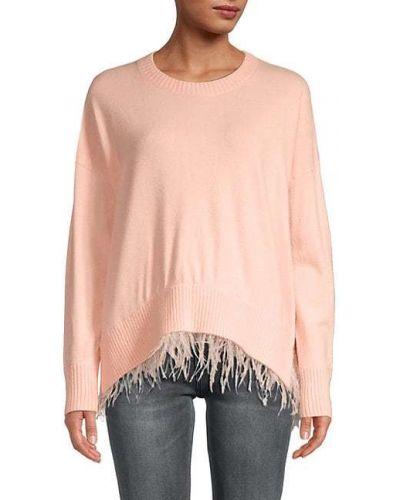 Różowy długi sweter z wiskozy z długimi rękawami Central Park West