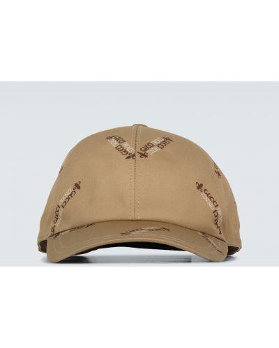 Beżowa czapka z haftem bawełniana Gucci