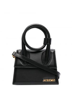 Золотистая замшевая черная маленькая сумка Jacquemus