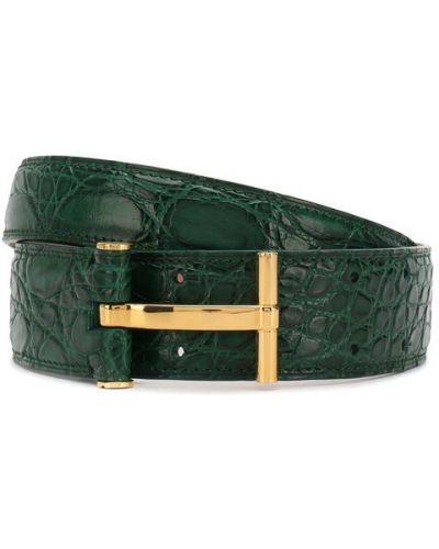 Ремень зеленый из кожи крокодила Tom Ford