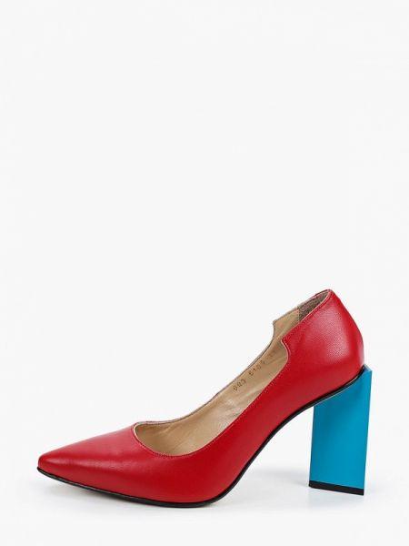 Красные кожаные туфли закрытые из натуральной кожи Marco Bonne