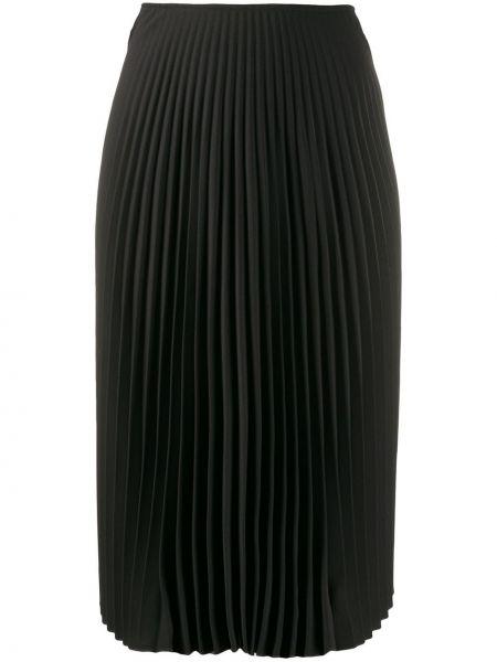 Плиссированная черная юбка миди в рубчик с поясом A.f.vandevorst