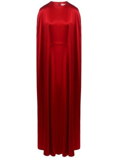 Красное приталенное шелковое платье макси на каблуке A La Russe
