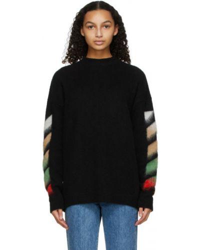 Шерстяной белый длинный свитер с воротником Off-white