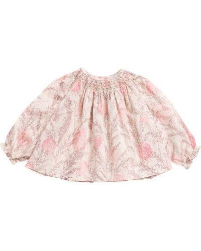Хлопковая розовая блузка на пуговицах Bonpoint