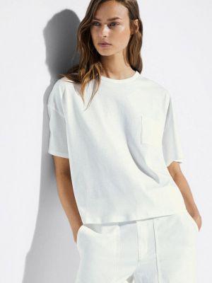 Белая футболка с короткими рукавами Massimo Dutti