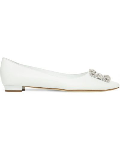 Кожаные белые туфли на каблуке Manolo Blahnik