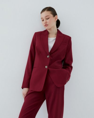 Бордовый пиджак из вискозы Zarina