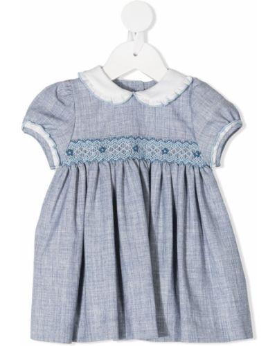Прямое платье мини с вышивкой на пуговицах с воротником Siola
