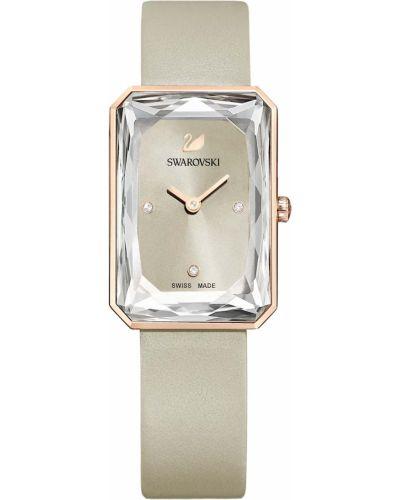 Серые с ремешком кожаные часы на кожаном ремешке Swarovski
