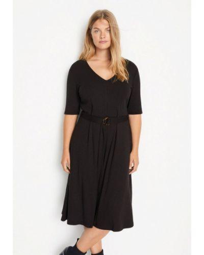 Прямое черное платье Violeta By Mango