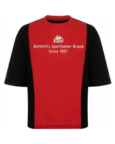 Хлопковая черная спортивная футболка свободного кроя Kappa