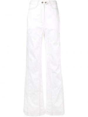 Białe spodnie bawełniane z paskiem Ellery