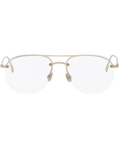 Кожаные очки для зрения круглые золотые Dior