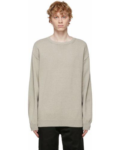 Beżowa bluza długa z długimi rękawami bawełniana Nanamica