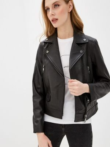 Кожаная куртка черная весенняя Karl Lagerfeld