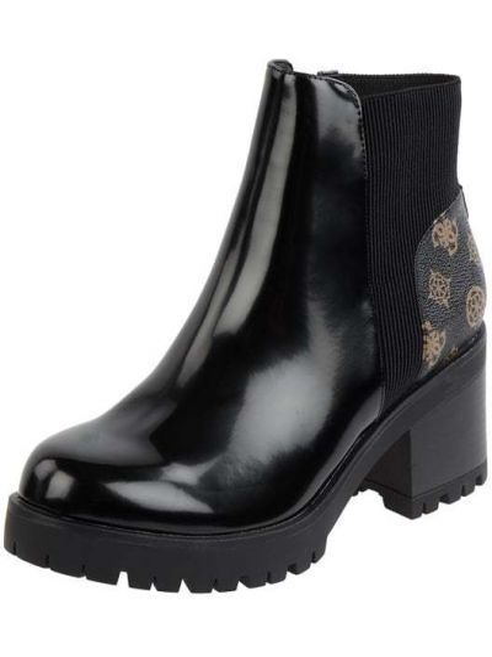 Włókienniczy czarny buty z zamkiem błyskawicznym Guess