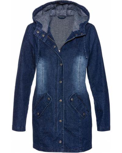 Джинсовая куртка с капюшоном с карманами Bonprix