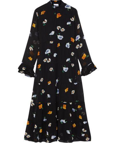 Шифоновое черное платье миди с подкладкой Ganni