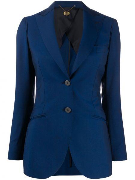 Шерстяная синяя длинная куртка с манжетами с воротником Maurizio Miri
