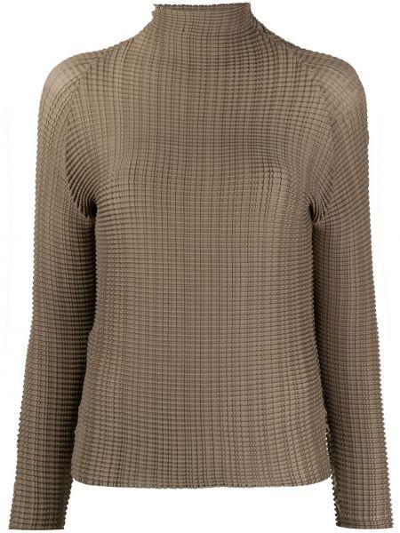 Облегченная коричневая рубашка с длинными рукавами Issey Miyake